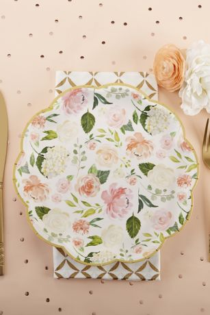 Floral 9-Inch Premium Paper Plates with Gold Rim