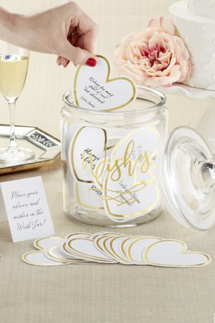 Wish Jar Heart-Shaped Cards with Gold Border