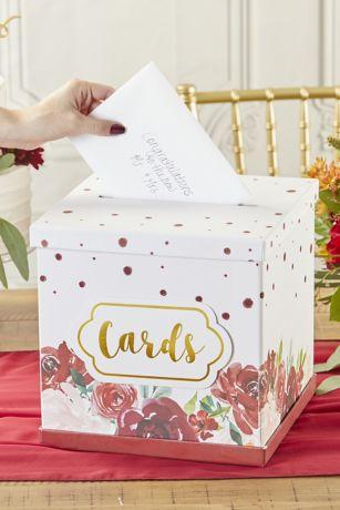 Burgundy Blush Floral Collapsible Card Box