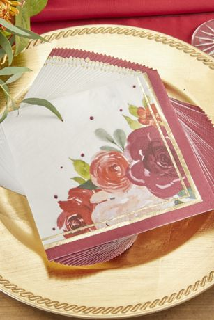 Burgundy Blush Floral Paper Napkins