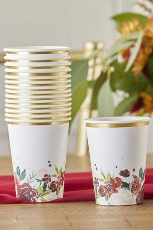 Burgundy Blush Floral Paper Cups