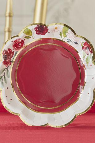 Burgundy Blush Floral 7-Inch Premium Paper Plates