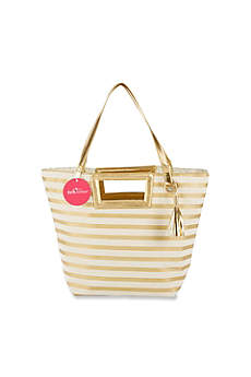 Striped Metallic Gold Canvas Tote With Tassel