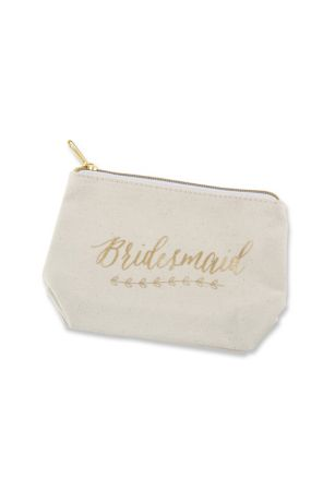 Gold Foil Bridesmaid Canvas Makeup Bag