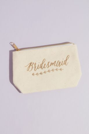 Bridesmaid Canvas Cosmetic Bag with Gold Foil