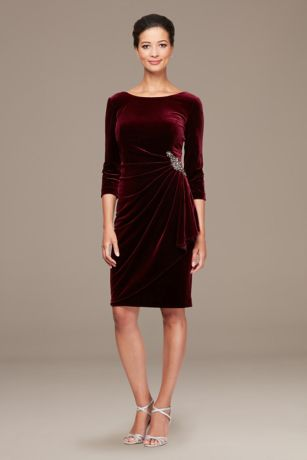 Short Sheath 3/4 Sleeves Dress - Alex Evenings