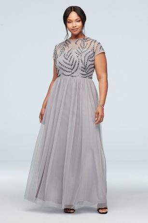 Illusion T-Shirt Sleeve Embellished Plus Size Gown