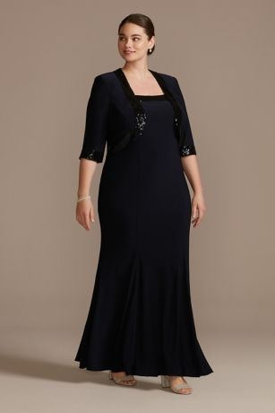 Sequin-Trimmed Plus Size Sheath Dress and Jacket