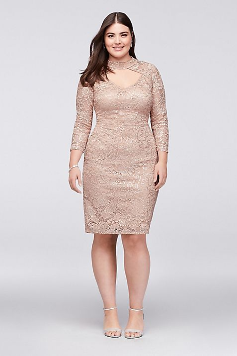Sequin Lace Plus Size Cocktail Dress with Keyhole | David\'s Bridal