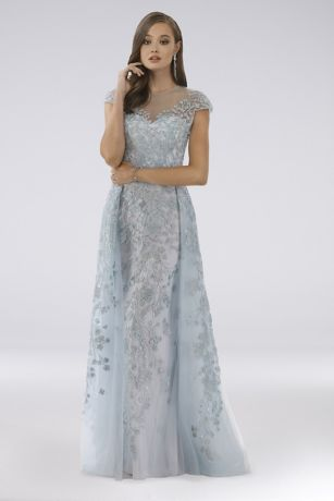Long Ballgown Cap Sleeves Dress - Lara