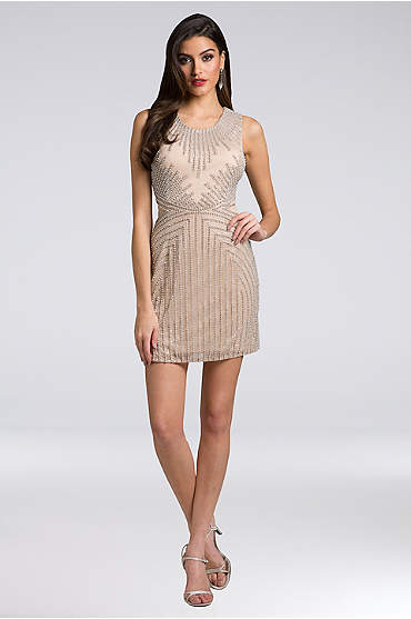 Lara Addison Beaded Mesh Sheath Short Dress