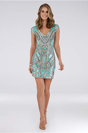 Lara Collette Short Beaded V-Neck Dress