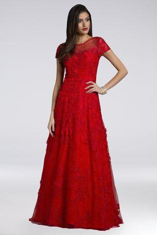 Long Ballgown Short Sleeves Dress - Lara