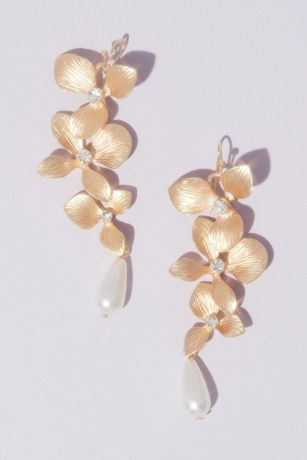 Dangling Floral Drop Earrings with Teardrop Pearls