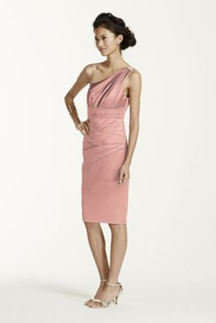 Short One Shoulder Stretch Satin Dress