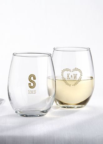 Personalized Rustic Wedding Stemless Wine Glass