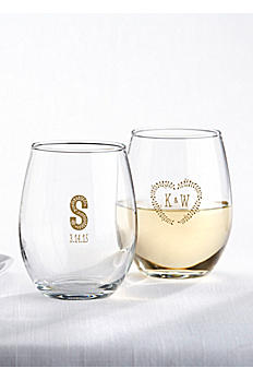 Personalized Rustic Wedding Stemless Wine Glass 30009NA-RW