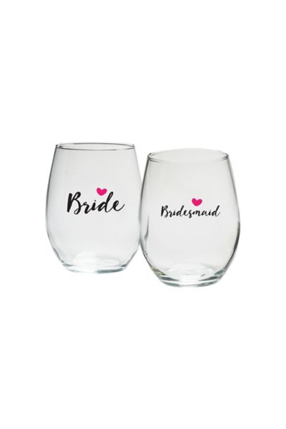 Bridal Party Heart 15 Oz Stemless Wine Set Of 4 by