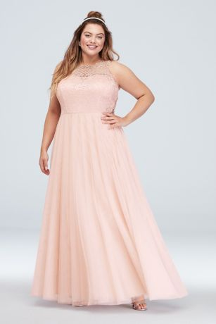Glitter Lace Plus Size Gown with Geometric Panels