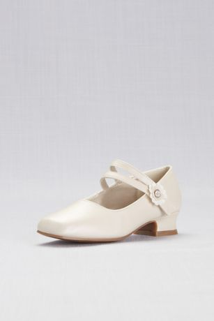 Josmo Ivory;White Flowergirl Shoes (Girls Patent Mary Janes with Floral Strap)