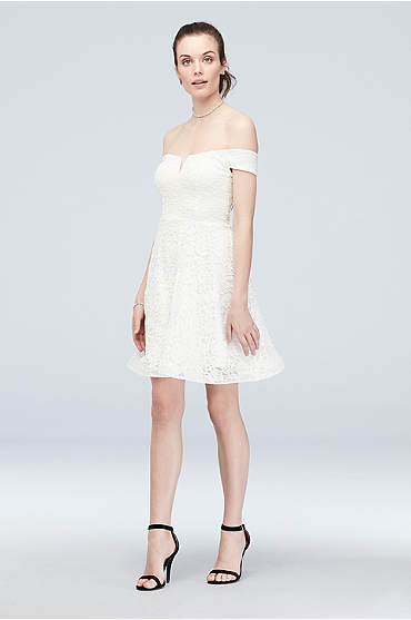Off-the-Shoulder Stretch Glitter Lace Skater Dress