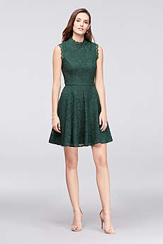 Mock-Neck Lace Fit-and-Flare Dress