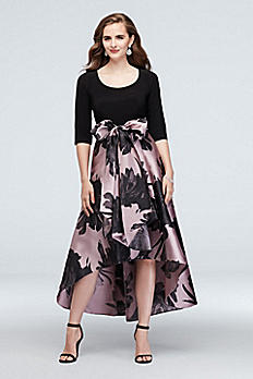 Printed High-Low 3/4 Sleeve A-line Dress with Sash 3131