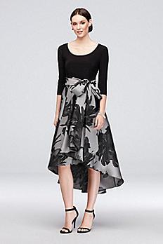 High-Low Printed 3/4 Sleeve A-line Dress with Sash 3131