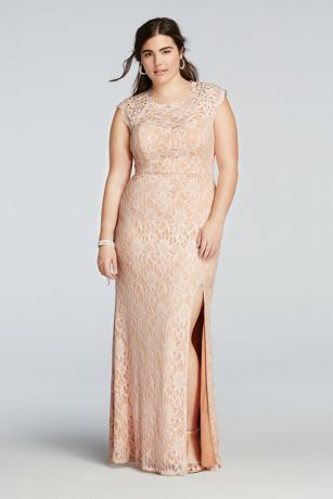 Beaded Cap Sleeve Prom Dress With Scalloped Neck David S
