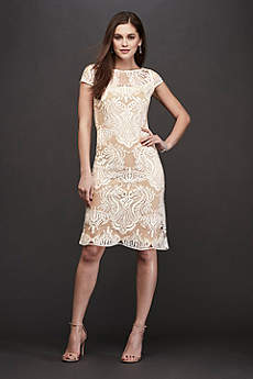 Short Sheath Short Sleeves Cocktail and Party Dress - RM Richards