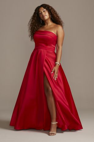 Strapless Satin Plus Size Gown with Skirt Slit