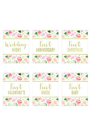 Our First Year Floral Wine Bottle Label Set