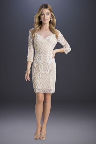 Short Sheath Wedding Dress - Lara
