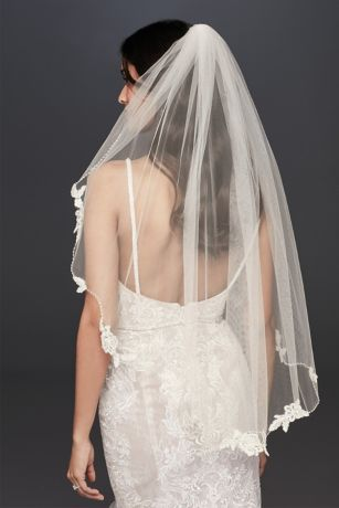 Floral Lace and Crystal Trimmed Elbow Length Veil