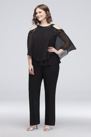Beaded Cold-Shoulder Two-Piece Plus Size Pants Se
