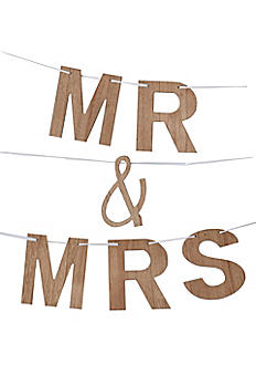 Faux Wood Grain Mr and Mrs Banner 34959