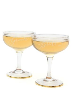 Bride and Groom Toasting Coupes Set