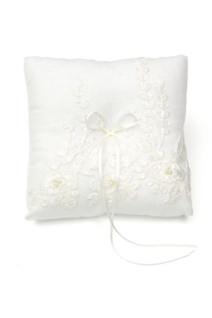 Embroidered Ring Pillow with Faux Pearls