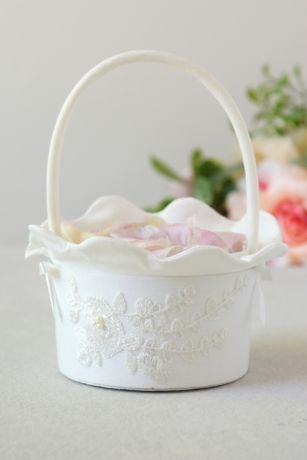 Embroidered Flower Basket with Faux Pearls