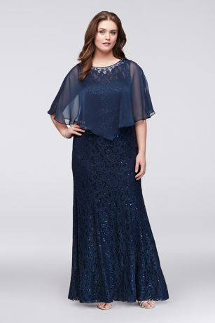 Plus Size Long Lace Dress with Beaded Capelet