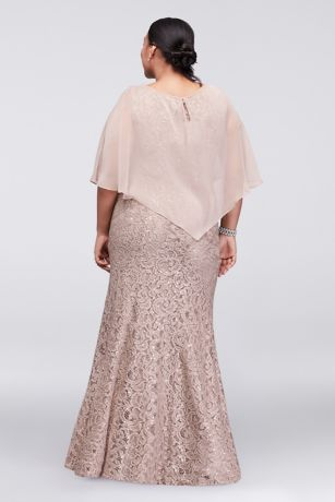 Long Lace Plus Size Dress With Beaded Capelet David S Bridal