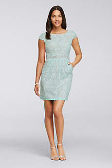 Short Lace Cap Sleeve Dress with Side Pockets