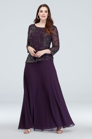 Long A-Line 3/4 Sleeves Dress - Jkara