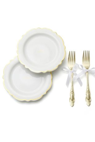 Our Wedding Gilded Cake Plate and Fork Set