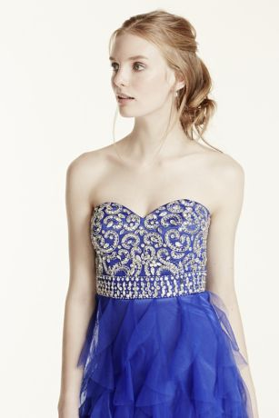 cascading ruffle tulle prom dress with crystals davids