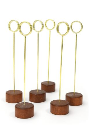 Wood and Gold Table Number Stand Set