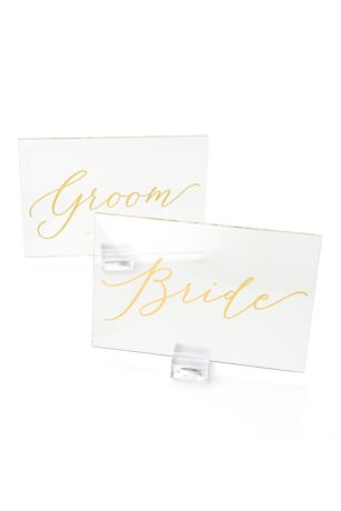 Clear and Gold Foil Bride and Groom Signs