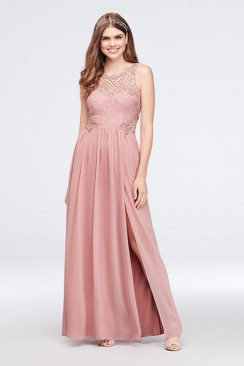 Lace and Chiffon Gown with Geometric Neckline | David\'s Bridal