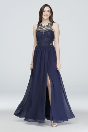 Chiffon and Lace Gown with Geometric Neckline