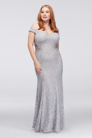 Off-The-Shoulder Plus Size Gown with Beaded Sides